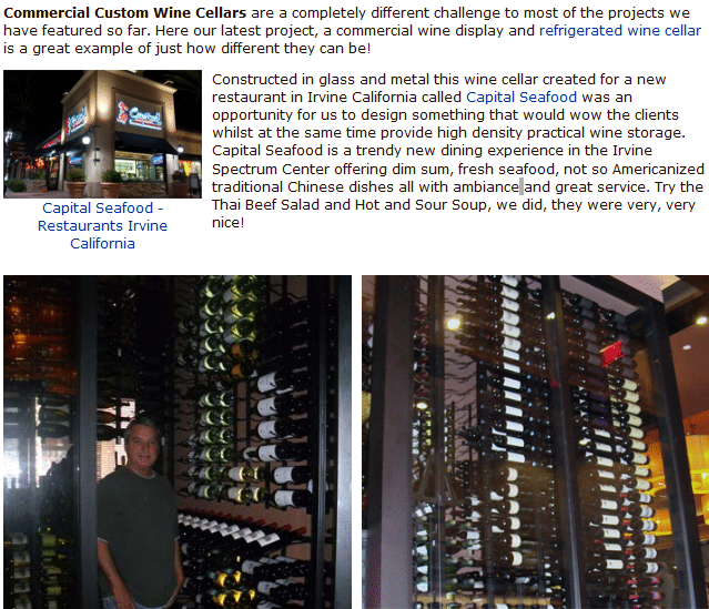 Check out this Commercial Wine Cellar Capital Seafood Restaurant Irvine California